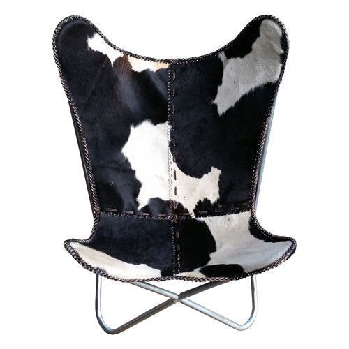 Cowhide Butterfly Chair With Iron Frame   Take Your Seat