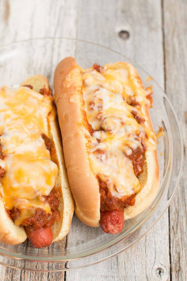chili dogs; filling, easy to make and everyone loves them on game day! #superbowl ohsweetbasil.com