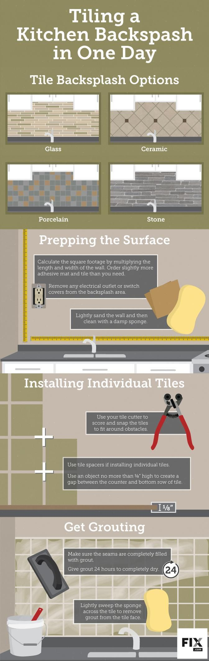Afraid of tackling that kitchen remodel? We hear ya. It's no easy task, but there are some projects that you can complete in a short period of time and will provide a HUGE improvement. Like a backsplash. While it may seem like an overwhelming project, all you need is one day, and some help from our friends over at @fixdotcom