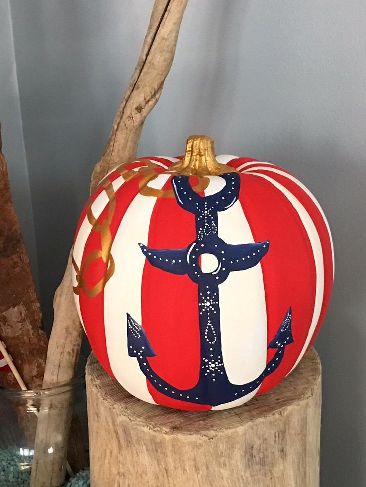 Nautical decor, Anchor decor,Beach decor, hand painted faux pumpkin, fall decor, Fall coastal decor, Red white and blue, Beach house decor by Sealifepainted on Etsy https://www.etsy.com/listing/468720458/nautical-decor-anchor-decorbeach-decor