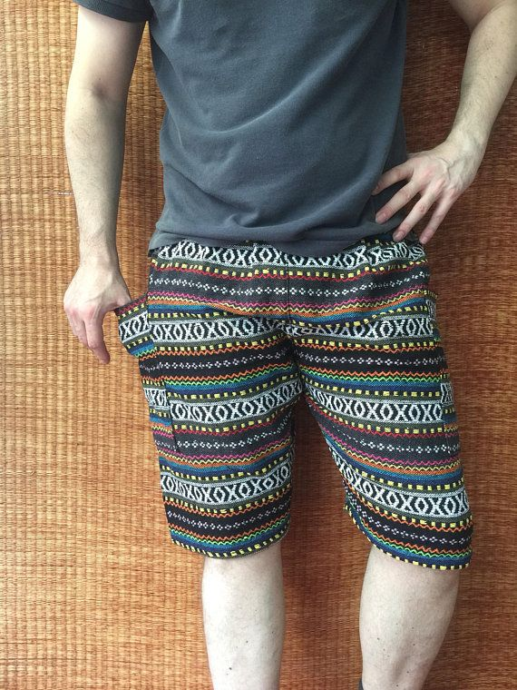 b66ef96ddb7 Woven Shorts Hippie festival Bohemian for Men women Burning man ...