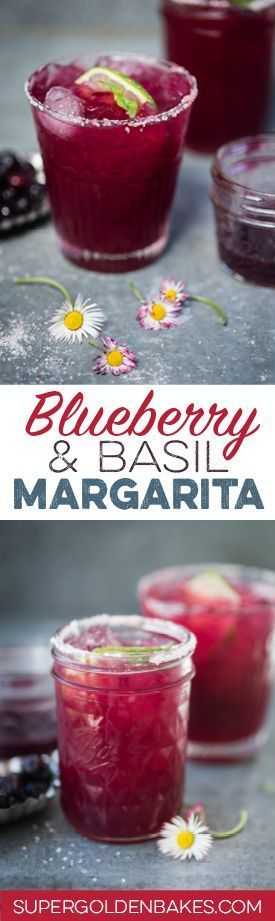 A slightly sweeter and totally addictive margarita with muddled basil and blueberries. Cheers!co