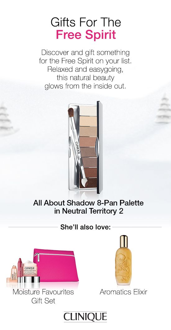 The Free Spirit on your #holiday #shopping list will love #Clinique All About Shadow 8-Pan Palette in Neutral Territory 2—the perfect neutral #eyeshadows. #Gift #Beauty #Makeup