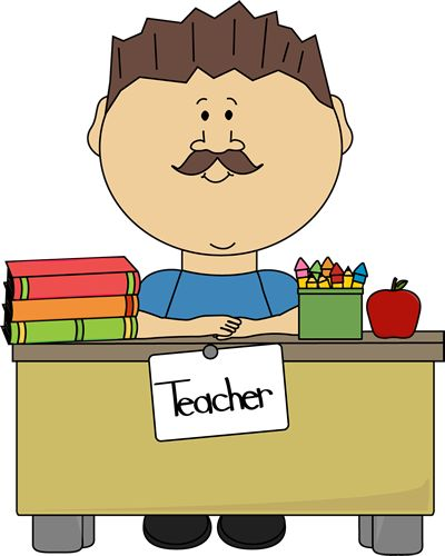 Male Teacher School Bus Art Clipart