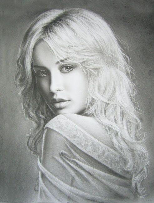 Девушка блондинка. Рисунок сухой кистью