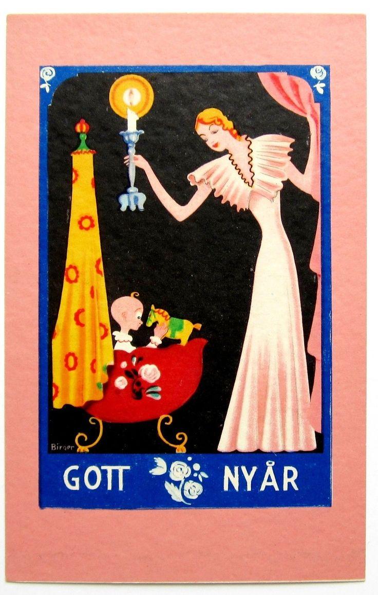 "Art Deco c. 1930 Vintage Swedish ""Happy New Year"" card ..."