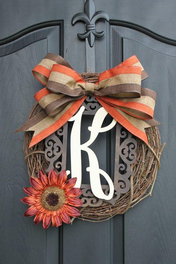 Burlap Wreath - Fall Wreaths for door - Door wreath - Monogram Wreath - Summer Wreath - Door Wreath - Wreaths - Wreath - Wreath for door on Etsy, $59.00