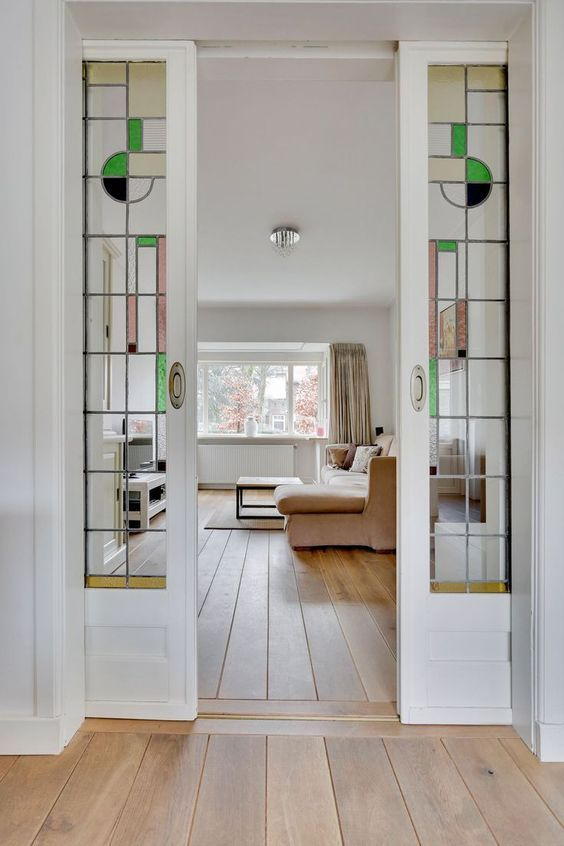 white french pocket doors with mid century stained glass leaded insert - June 05 2019 at Door Design, French Pocket Doors, House, Interior, Home, Glass Pocket Doors, Glass French Doors, Doors Interior, Stained Glass Door