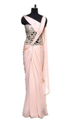 Corseted Peach Saree   Strandofsilk.com - Indian Designers