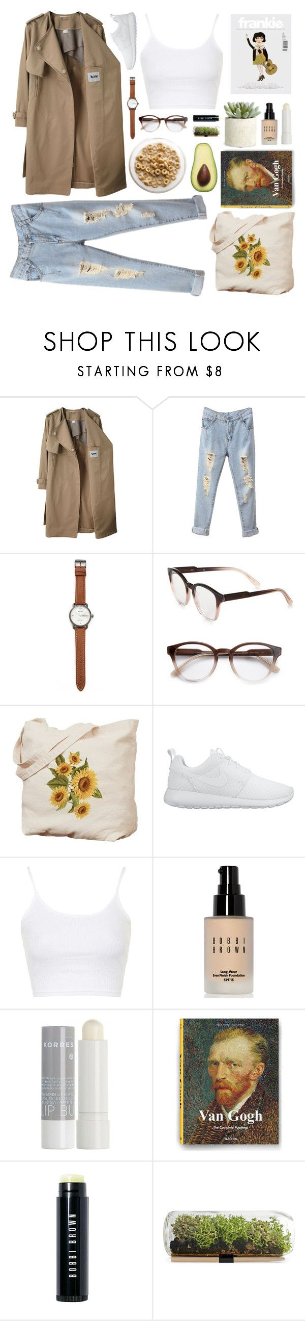 """""""A Long Way Down"""" by megmara ❤ liked on Polyvore featuring Acne Studios, Jack Spade, STELLA McCARTNEY, NIKE, Topshop, Bobbi Brown Cosmetics, Korres and Allstate Floral"""