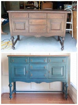 Antique Sideboard Buffet Makeover   The Client Files #paintedfurniture #milkpaint SouthernRevivals.com