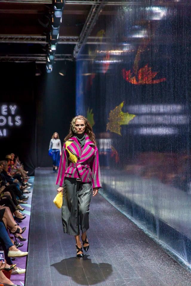 Dries Van Noten (coat),  Alexander Wang (trousers & shoes) and Nancy Gonzales (clutch) at Harvey Nichols - Dubai