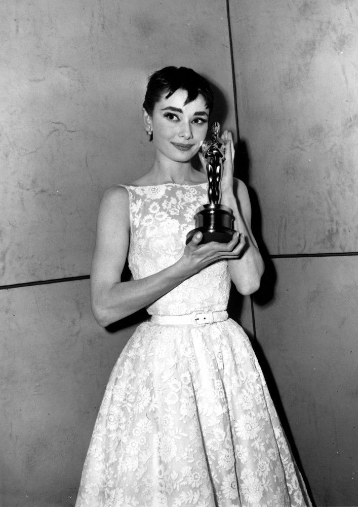 Image result for Audrey Hepburn's conservative chic in 1954 at oscars