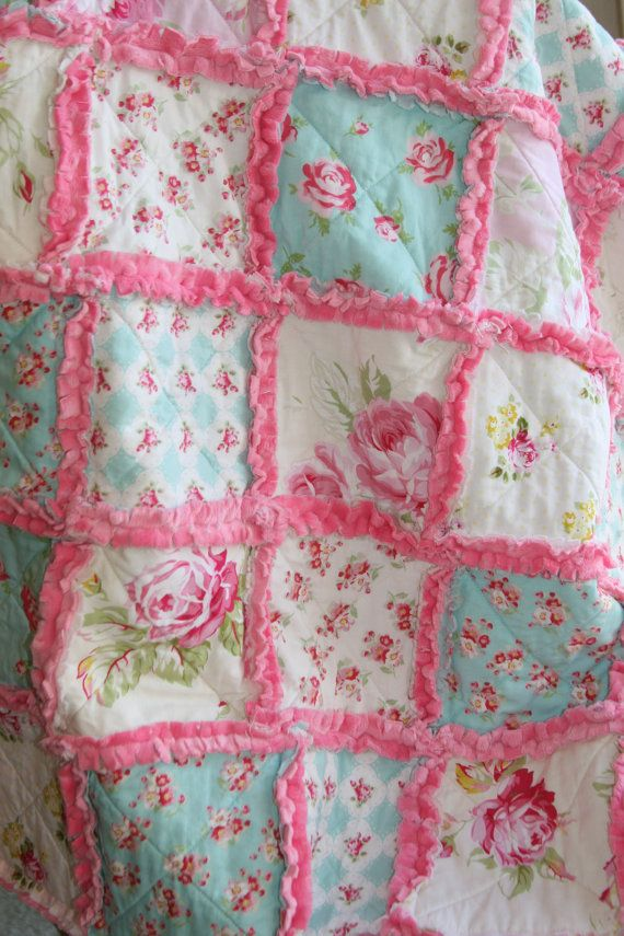Shabby Chic Rag Quilt Baby Girl Rag Quilt Pink Blue Nursery