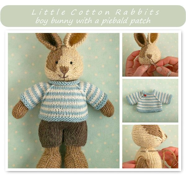 This listing is for an extensive PDF file which contains full instructions for knitting and finishing off a little cotton rabbit boy with a stripy sweater and shorts. Once paid for it is available for you to instantly download. The finished rabbit is approx 24cm (10 inches) from the tip...