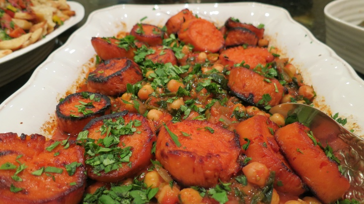 Spicy Chickpeas with Honeyed Sweet Potatoes