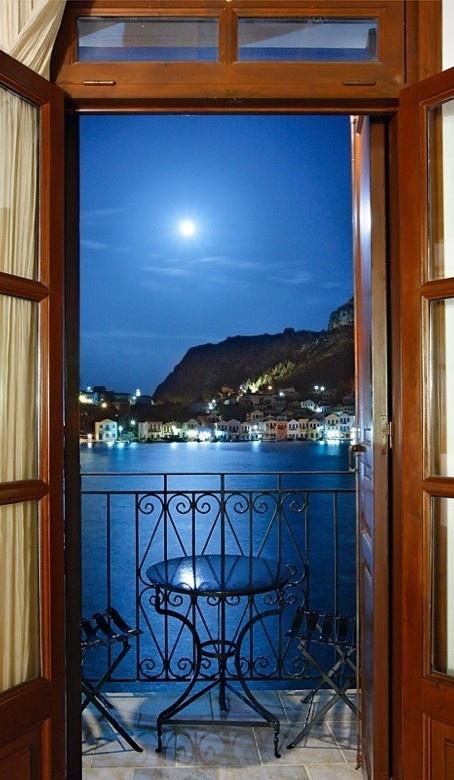 The picturesque, moonlit harbor of Kastellorizo, Greece • photo: Hercules Milas on TrekEarth