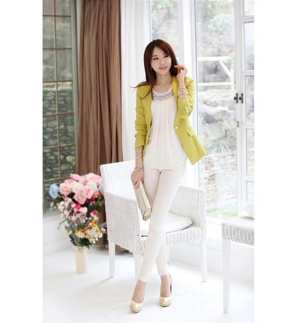 Blazer estilo europeo de diseño de moda ocasionales adelgazan Shouler los trajes del color mostaza  Precio: $ 91.300  Tallas:  S, M,L