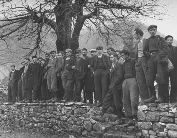 Civil War/Greece  Villagers standing on the Main Square of…