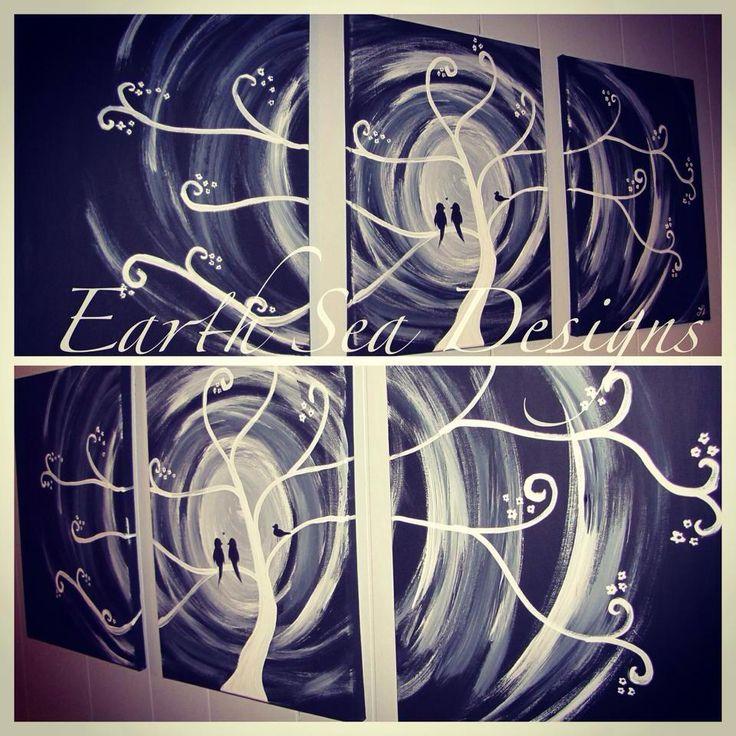 tree,moon,birds,canvas Canvas Art By Lindsay Hurley www.earthseadesigns.webs.com/ www.facebook.com/earthseadesigns