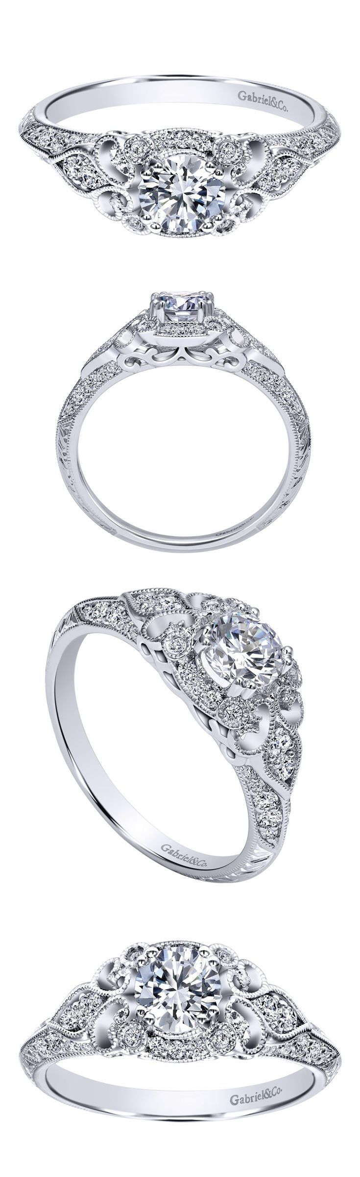 Looking for the perfect engagement ring to match with your vintage wedding? Check out this beautiful 14k White Gold Victorian Halo Engagement Ring by Gabriel