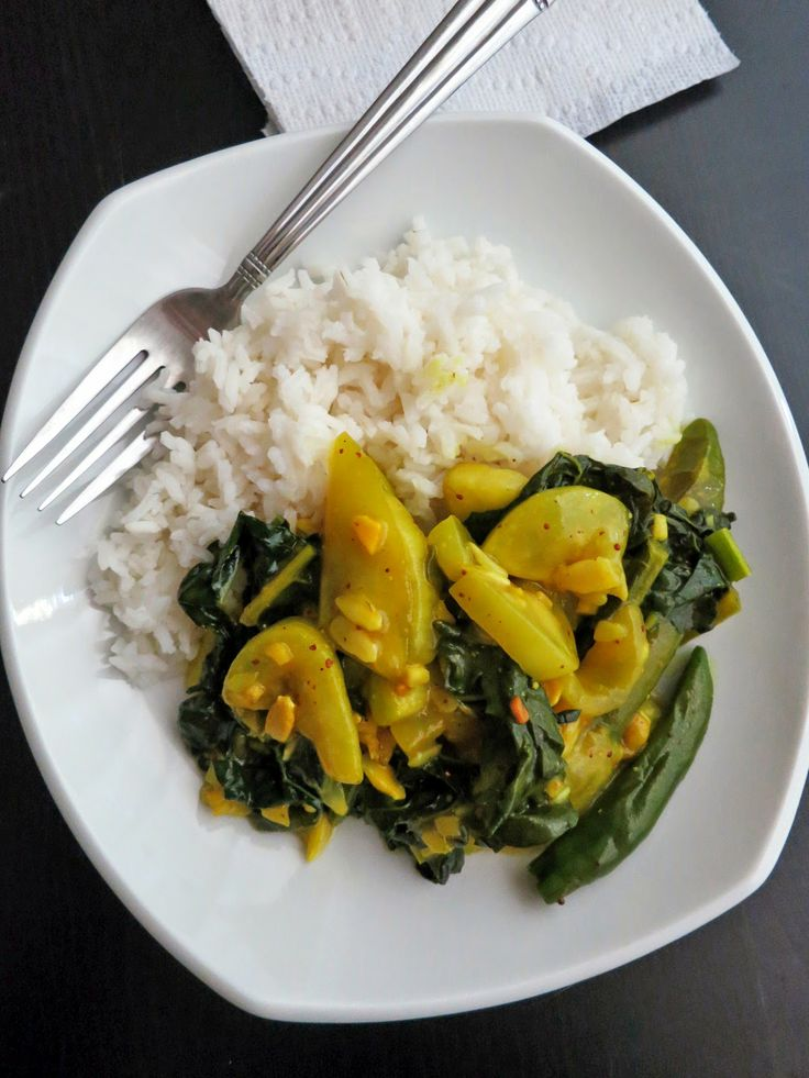 Delicious, light, quick, and easy Bengali curry with opo squash (or summer squash) and fresh leafy greens. Yum! (From www.bakergal.com).