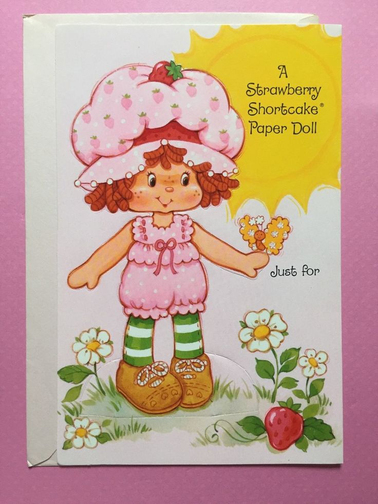 Vintage Strawberry Shortcake Easter Card (1984) Paper Doll Punch Out   eBay