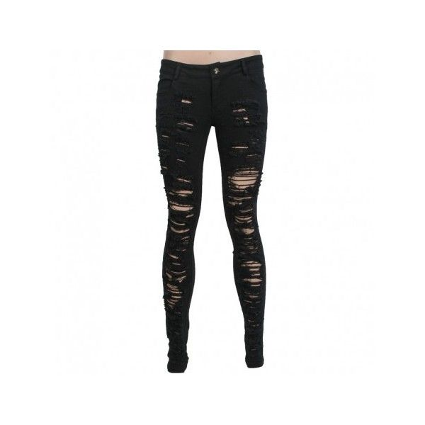Destroyed women's skinny pants by Punk Rave ($2.82) ❤ liked on Polyvore featuring pants, bottoms, jeans, torn pants, punk rock pants, distressed pants, super skinny pants and skinny leg pants