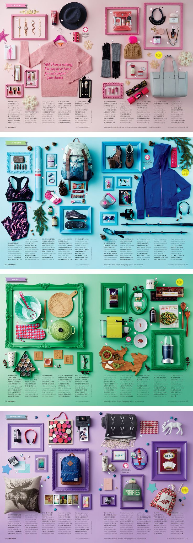 Gift Guide for Best Health Magazine, November/December 2014 (via Stephanie Han Kim).