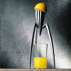 We have been on the hunt for a good juicer.  This one looks cool, but who knows if it is at all practical!