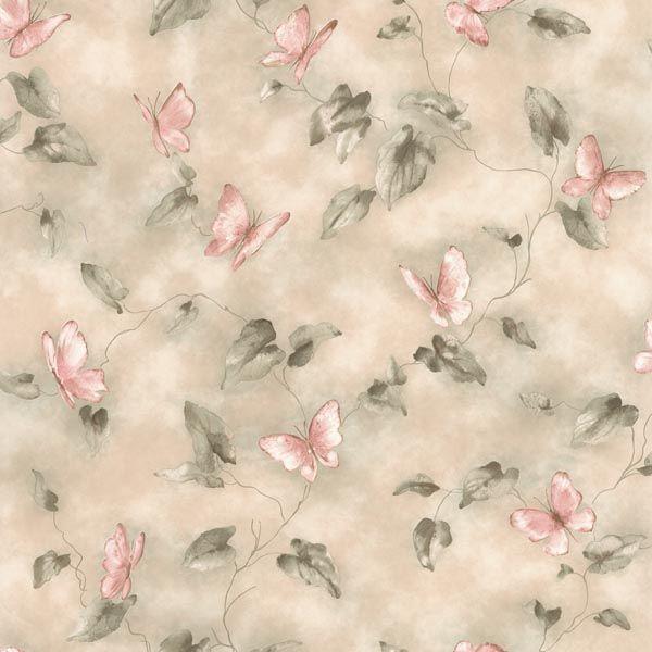 2532-45108 Pink Butterfly Trail - Aveline - Bath Bath Bath IV Wallpaper by Brewster