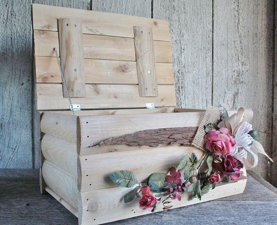 Boîte bois carte mariage Boîte bois rustique carte Coffre