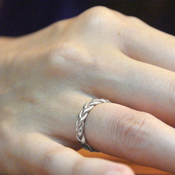 Braided 14K White Gold Wedding Band - Hand Braided Solid Gold Ring - A Great Alternative Wedding Ring or Marriage Commitment ring.…