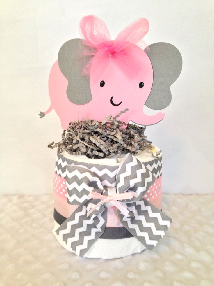 Pink and grey elephant baby shower decorations