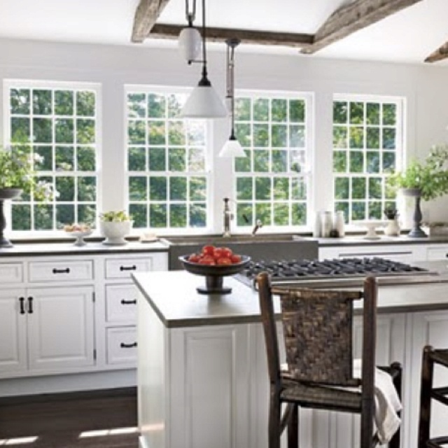 Big windows over the kitchen sink home pinterest for Large kitchen window