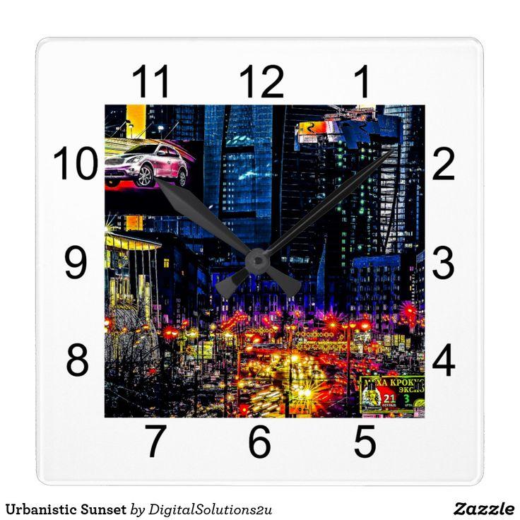 Urbanistic Sunset Square Wall Clock