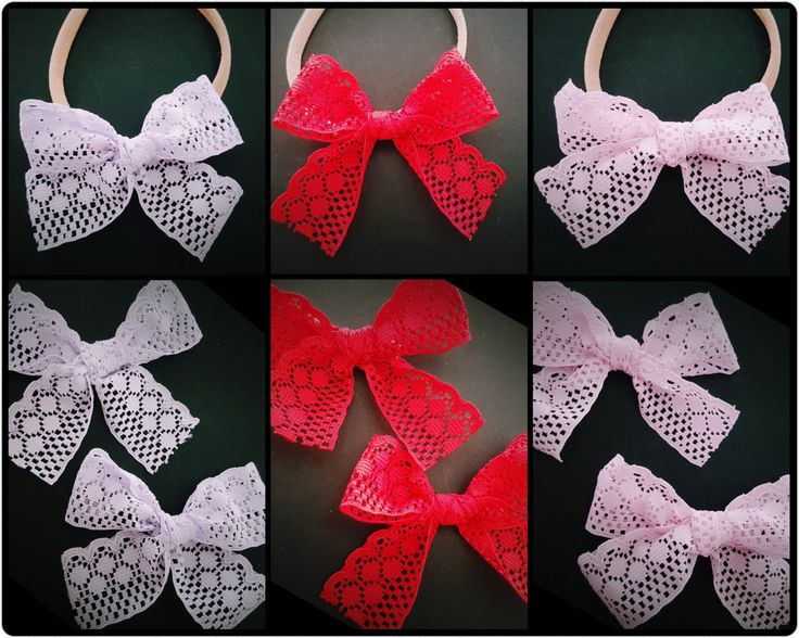 lace bow headband - lace bow clip - red lace bow clip - pink lace bow clip - lavender lace bow - nylon headband - cute baby headband by BeePiki on Etsy