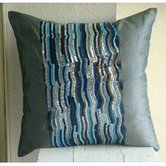 silver blue jazz throw pillow covers 16x16 inches silk pillow cover embellished with sequins