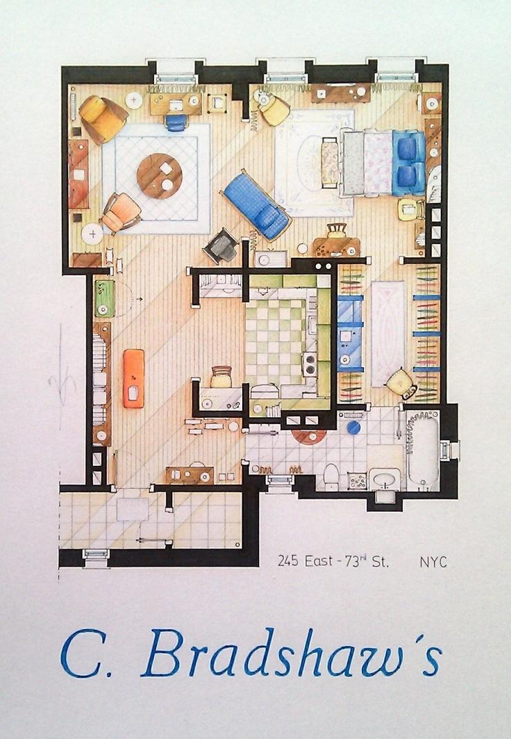 Carrie Bradhsaws Apartment Floorplan 4000 via Etsy