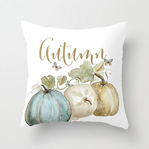 UOOPOO Autumn Pumpkins Home Decorative Halloween Throw Pillow Cover Square 20 x 20 Inches Cotton Canvas Wedding Pillow Case Happy Fall Cushion Cover for Sofa One Side Printed >>> Find out more about the great product at the image link.-It is an affiliate link to Amazon. #Sofa #halloweenhomedecor