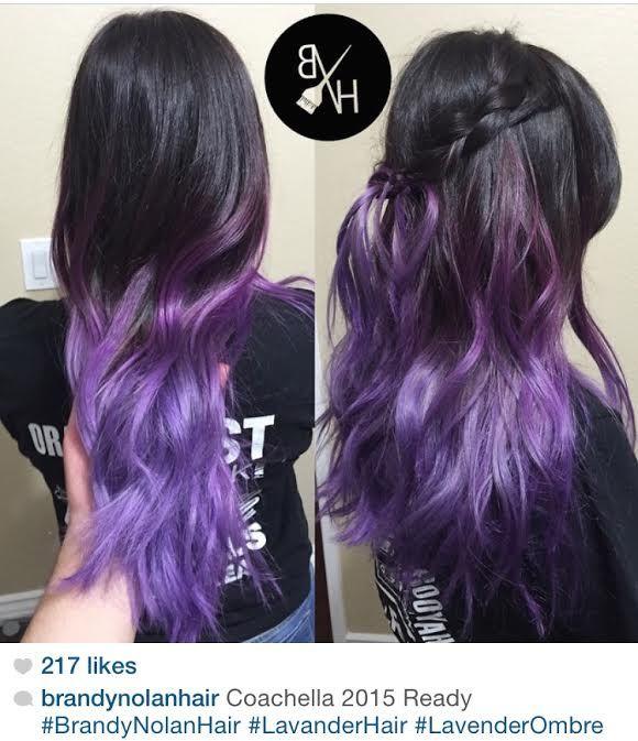 "Black / dark brown to purple hair ombre color melt. By ""brandynolanhair"" on Instagram."
