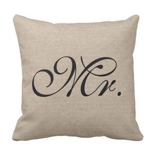 Mr. faux linen burlap rustic chic initial jute throw pillow