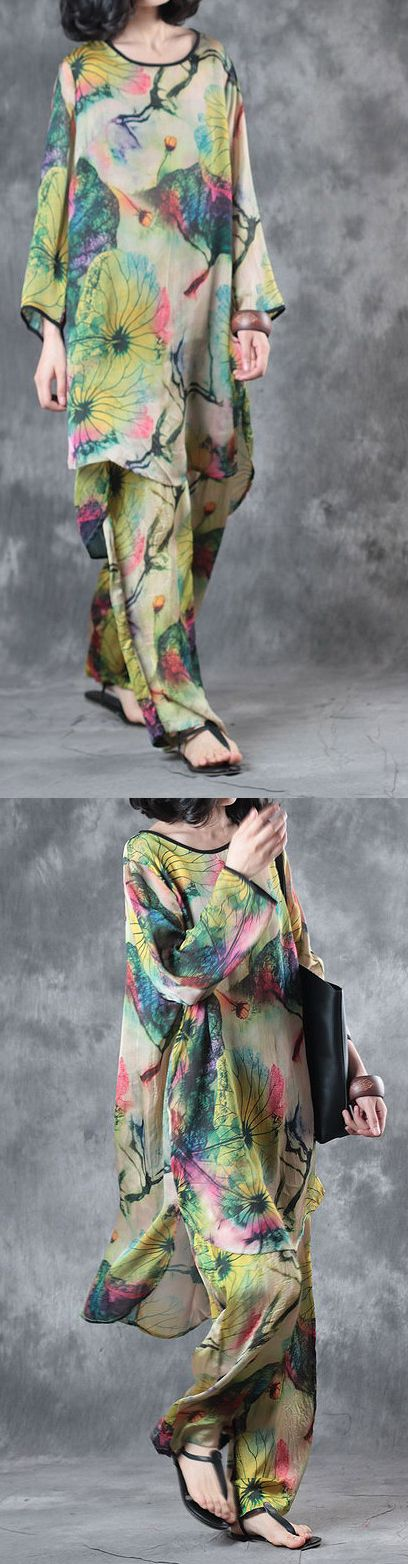 green casual prints silk tops and vintage loose wide leg pant