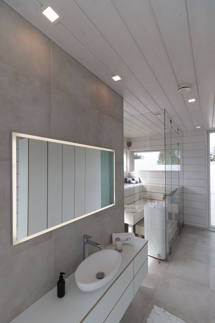 Beautiful bathroom and Sauna with Kanna LED-luminaires that will light up the space!
