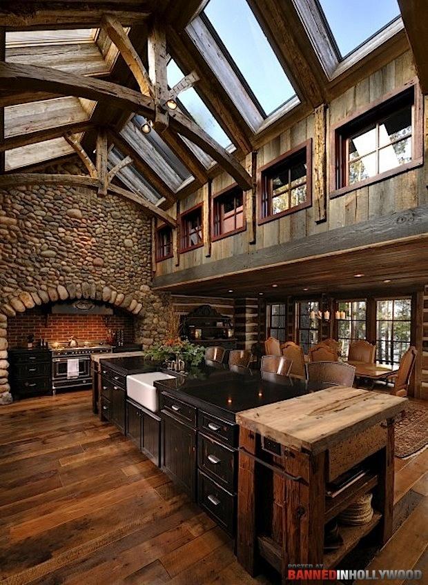 I like it a lotCabin, Ideas, Kitchens Design, Dreams Kitchens, Dreams House, Rustic Kitchens, Children, Design Kitchen, Stones