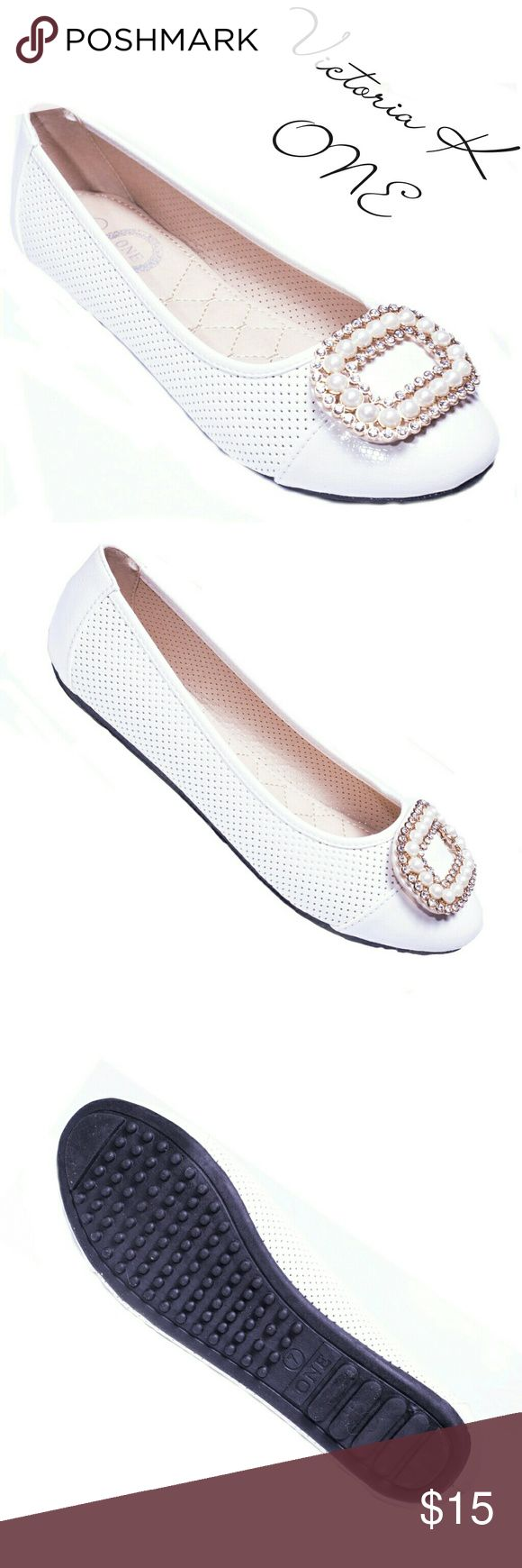 """ONE Tory K Women Buckle Flats,  b-2055, Sand Brand new Victoria K perforated woman ballerina flats with a stylish stone-studded oversized buckle in the front. From the ONE collection. Soft cushioned sole, very comfortable. Bubbled bottom sole for extra traction. A true staple in ladies shoes fashion! Measurements: larger sizes run small. Size 8 measures 9.5 inches, sz 8.5 - 9 3/4"""", sz 9 - 10"""", sz 10 - 10.5"""", all half sizes are in 1/4 inch increments of each other. Tory K  Shoes Flats…"""