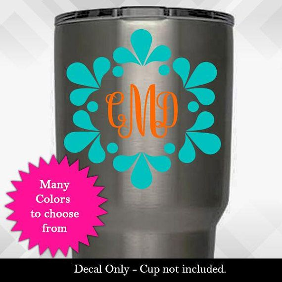 Check out Flower Splash Circle Monogram Custom Decal - Vinyl Sticker - Monogram Yeti Tumbler Decal - Choose TWO Colors & Size! on amberrockstar