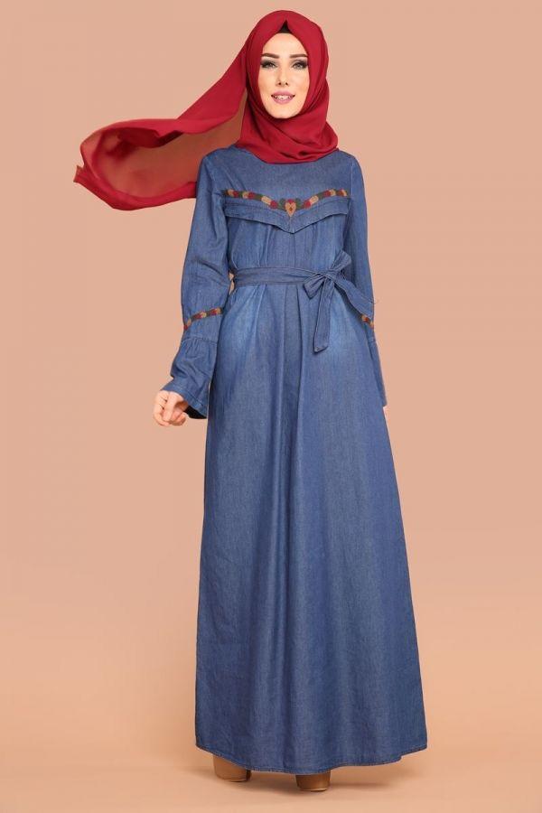 ** YENİ ÜRÜN ** Nakışlı Kot Elbise Koyu Kot Ürün Kodu: KWL3144 --> 89.90 TL