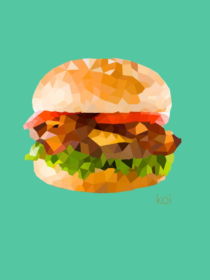 Hamburger   #llustrations  #Polygon Art