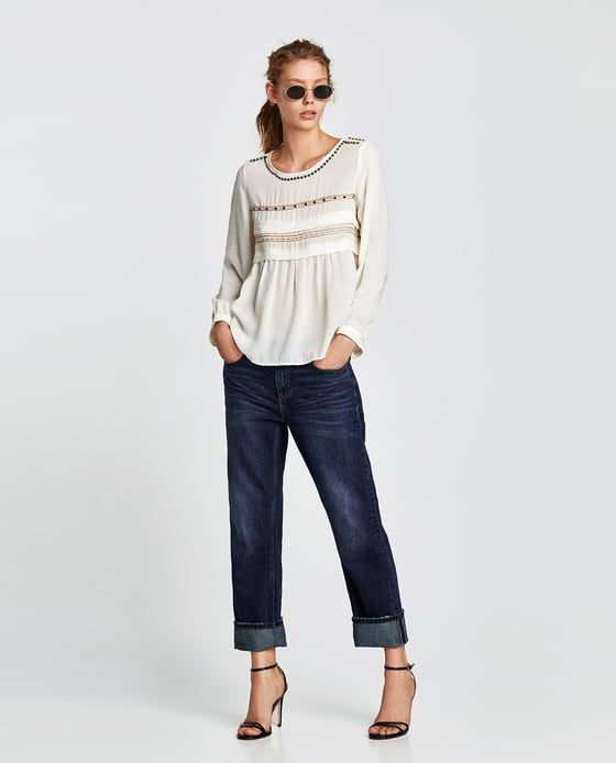 ZARA - WOMAN - EMBROIDERED BLOUSE WITH BEADING
